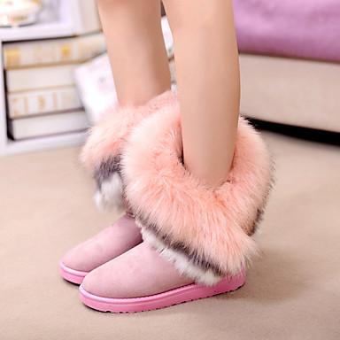 voordelige Dameslaarzen-Dames Laarzen Platte hak Bont / Fleece Kuitlaarzen Modieuze laarzen Winter Bruin / Groen / Roze / EU39