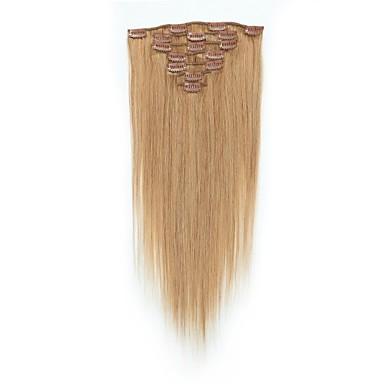 Κουμπωτό Επεκτάσεις ανθρώπινα μαλλιών 7pcs / Πακέτο 70g / πακέτο Καστανό / Φράουλα Ξανθιά Medium Brown / Bleach Blonde Το Golden Brown /