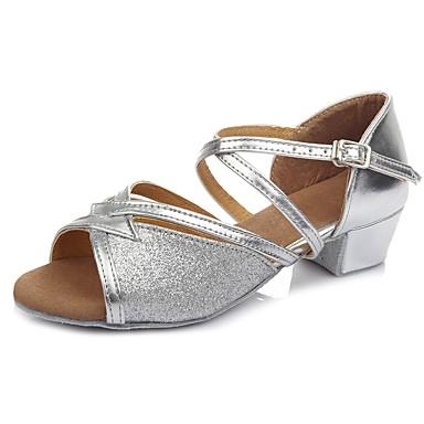Παπούτσια Χορού Φο Δέρμα Παπούτσια χορού λάτιν Αγκράφα Πέδιλα / Τακούνια Κοντόχοντρο Τακούνι Εξατομικευμένο Ασημί