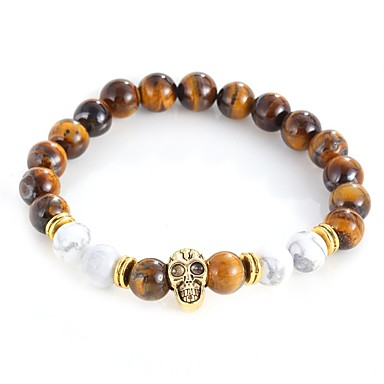 levne Dámské šperky-Pánské Dámské Onyx Tiger Eye Stone Korálkový náramek Náramek Lebka Prohlášení Vintage Slitina Náramek šperky Zlatá / Stříbrná Pro Večerní oslava Street