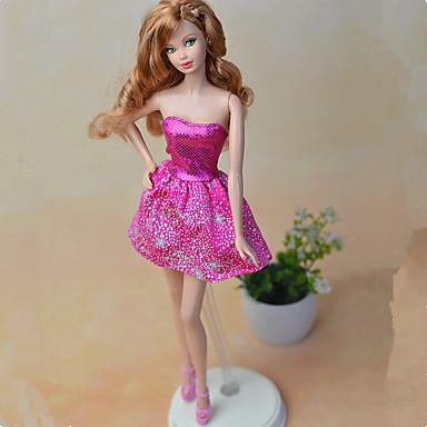voordelige Poppenaccessoires-Poppenjurk Jurken Voor Barbie Modieus Fuchsia tekstiili Stretchsatijn Poly / Katoen Kleding Voor voor meisjes Speelgoedpop