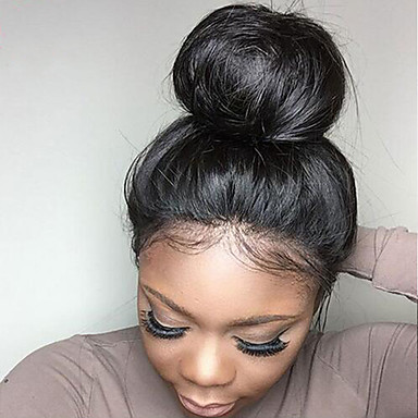 Φυσικά μαλλιά Δαντέλα Μπροστά Χωρίς Κόλλα Περούκα στυλ Βραζιλιάνικη Ίσιο Μαύρο Περούκα 130% Πυκνότητα μαλλιών με τα μαλλιά μωρών Φυσική γραμμή των μαλλιών Περούκα αφροαμερικανικό στυλ 100 / Ίσια