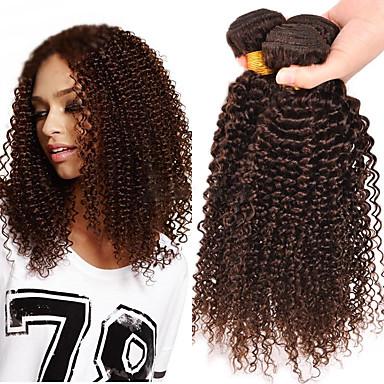 povoljno Ekstenzije od ljudske kose-3 paketa Brazilska kosa Klasika Kinky Curly Ljudska kosa Ljudske kose plete Isprepliće ljudske kose Proširenja ljudske kose / 8A