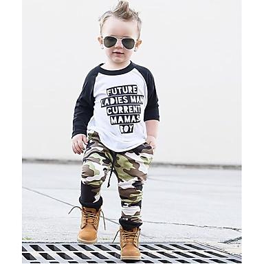 povoljno Odjeća za dječake-Dječaci Jednostavan Ležerne prilike Dnevno Sport Print Color block Kolaž Jastuk Moderna Kolaž Dugih rukava Regularna Normalne dužine Pamuk Komplet odjeće Vojska Green