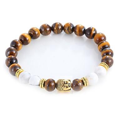 levne Dámské šperky-Pánské Dámské Onyx Tiger Eye Stone Korálkový náramek Náramek Čakra Vintage Cikánské Módní rovnováhy Slitina Náramek šperky Zlatá / Stříbrná Pro Denní Večerní oslava