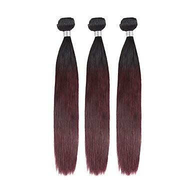 povoljno Ekstenzije od ljudske kose-3 paketa Brazilska kosa Ravan kroj Ljudska kosa Ombre 10-26 inch Isprepliće ljudske kose Gradijent boje Najbolja kvaliteta Novi Dolazak Proširenja ljudske kose / 8A