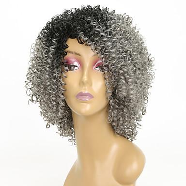 Συνθετικές Περούκες Kinky Curly Kinky Σγουρό Περούκα 8-11ίντσεςch Γκρι Συνθετικά μαλλιά Περούκα αφροαμερικανικό στυλ Γκρι