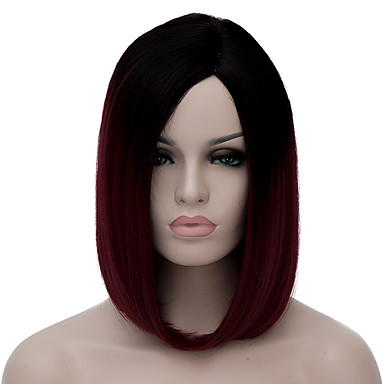 billige Kostymeparykk-Syntetiske parykker Kostymeparykker Stil Lokkløs Parykk mørk Vin Syntetisk hår Dame Rød Parykk Kort