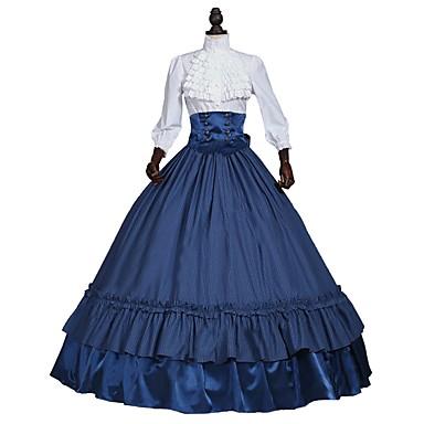 Victorian Στολές Γυναικεία Σύνολα Άσπρο+Μπλε Πεπαλαιωμένο Cosplay 50% Βαμβάκι 50% πολυέστερ 3/4 Μήκος Μανικιού Μπαλούν