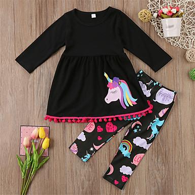 cheap Girls' Clothing Sets-Toddler Girls' Casual Basic Sports Going out Unicorn Animal Animal Pattern Printing Long Sleeve Regular Regular Cotton Clothing Set Black / Cute