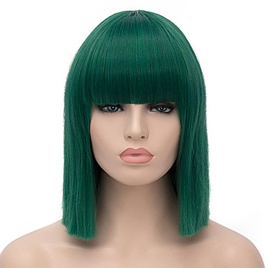 billige Kostymeparykk-Syntetiske parykker Kostymeparykker Rett Stil Parykk Kort Grønn Syntetisk hår Dame Grønn Parykk