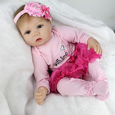cheap Reborn Doll-OtardDolls 22 inch NPK DOLL Reborn Doll Girl Doll Baby Girl Reborn Baby Doll lifelike Cute Hand Made Child Safe Non Toxic Cloth 3/4 Silicone Limbs and Cotton Filled Body 55cm with Clothes and / Kid's