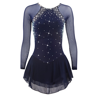 cheap Free shipping over $100, Winter Sports-Figure Skating Dress Women's Girls' Ice Skating Dress Deep Blue White Sky Blue Spandex High Elasticity Competition Skating Wear Quick Dry Anatomic Design Handmade Classic Long Sleeve Ice Skating