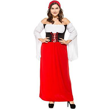 Halloween Oktoberfest Dirndl Trachtenkleider Γυναικεία Φόρεμα Κοντά Παντελονάκια βαυάρος Στολές Κόκκινο