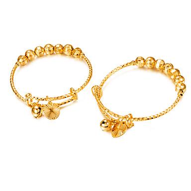 2pcs Homens Mulheres Bracelete Fashion Chapeado Dourado Pulseira de jóias Dourado Para Presente