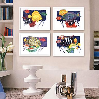povoljno Ukrašavanje zidova-Uokvireno platno Uokvireni set - Pejzaž Životinje Plastika Ilustracija Wall Art