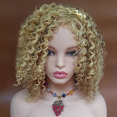 preiswerte Karneval - Perücken-Synthetische Perücken Wellen Kinky Curly Kinky-Curly Wellen Seitenteil Perücke Blond Kurz Blondine Synthetische Haare 16 Zoll Damen Blond