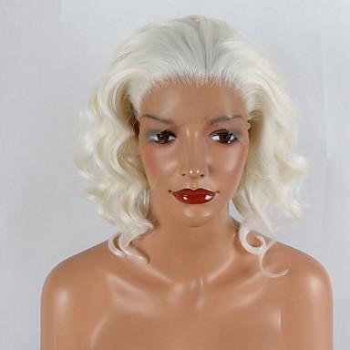 Συνθετικές μπροστινές περούκες δαντέλας Φυσικό Κυματιστό Φυσικό Κυματιστό Δαντέλα Μπροστά Περούκα 20-40 ίντσες Άσπρο Συνθετικά μαλλιά Περούκα αφροαμερικανικό στυλ Λευκή