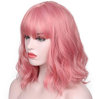 povoljno Perike i ekstenzije-Sintetičke perike Water Wave Kardashian Stil Sa šiškama Capless Perika Pink Ružičasta Sintentička kosa Žene Prirodna linija za kosu / S praskama Pink Perika Kratko