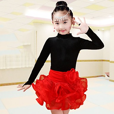 98910c462 Latin Dance Outfits Girls  Performance Spandex Ruching Long Sleeves ...