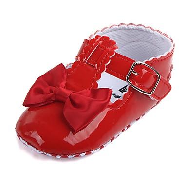 voordelige Babyschoenentjes-Meisjes Comfortabel / Eerste schoentjes / Wiegschoenen Kunstleer Platte schoenen Strik / Magic tape Rood / Marine Blauw / Stoffige roos Lente