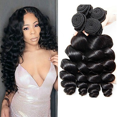 cheap Human Hair Weaves-4 Bundles Hair Weaves Brazilian Hair Loose Wave Human Hair Extensions Remy Human Hair 100% Remy Hair Weave Bundles 400 g Natural Color Hair Weaves / Hair Bulk Human Hair Extensions 8-28 inch Natural