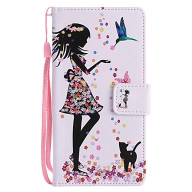 tok Για Sony Xperia XZ1 Compact / Sony Xperia XZ1 / Sony Xperia XZ Πορτοφόλι / Θήκη καρτών / με βάση στήριξης Πλήρης Θήκη Γάτα / Σέξι κυρία Σκληρή PU δέρμα