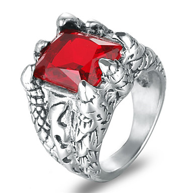 billige Statement Ringe-Herre Statement Ring Syntetisk Ruby Svart Rød Blå Titanium Stål Titan Stål Fire tenger Rock Mote Bryllup Maskerade Smykker Indgraveret simulert Kul