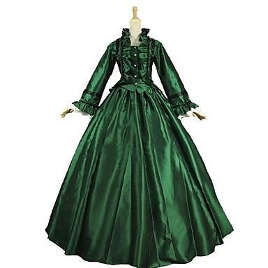 Βίντατζ Rococo Στολές Γυναικεία Σύνολα Πράσινο και Μαύρο Πεπαλαιωμένο Cosplay Σατέν Μακρυμάνικο Μπαλούν