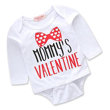 preiswerte Einteiler für kleine Mädchen-Baby Mädchen Einfach / Freizeit Alltag / Ausgehen Druck Monogramm / Stilvoll / Schlank Langarm Baumwolle Body Weiß