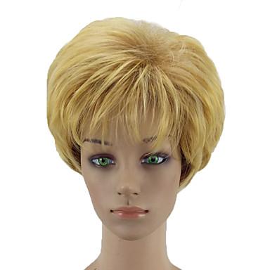 Συνθετικές Περούκες Σγουρά Σγουρά Κούρεμα με φιλάρισμα Περούκα Ξανθό Κοντό Μαύρο και Χρυσό Συνθετικά μαλλιά Γυναικεία Φυσική γραμμή των μαλλιών Ξανθό hairjoy