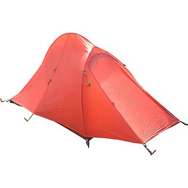 2 personer Turtelt Utendørs Lettvekt Vindtett Regn-sikker Dobbelt Lagdelt Stang camping Tent >3000 mm til Klatring Camping / Vandring / Grotte Udforskning Reise Nylon Aluminium 7075 280* 135*120 cm