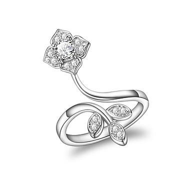levne Dámské šperky-Dámské manžeta Ring Kubický zirkon High End Crystal Stříbrná Zirkon Postříbřené Geometric Shape Klasické Svatební Večerní oslava Šperky Leaf Shape Kytky