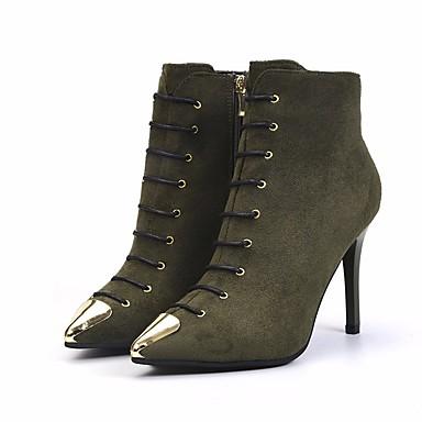 Mujer Zapatos Vellón Primavera Botas de Combate Botas Tacón Stiletto Punta abierta Botines / Hasta el Tobillo Negro / Verde Ejército / Sortie Des Achats En Ligne JtkXA