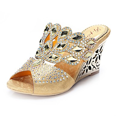 cheap Women's Sandals-Women's Sandals Clogs & Mules Wedge Sandals Glitter Crystal Sequined Jeweled Wedge Heels Wedge Heel Peep Toe Vintage Party & Evening Rhinestone Crystal Floral Polyurethane Summer Black / Red / Gold