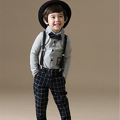 povoljno Odjeća za dječake-Djeca Dijete koje je tek prohodalo Dječaci Jednostavan Ležerne prilike Dnevno Izlasci Karirani uzorak Kolaž Formalno Style Klasičan Retro Dugih rukava Regularna Normalne dužine Pamuk Komplet odjeće