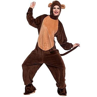 Per adulto Scimmia Pigiama a pagliaccetto Costume Peluche Marrone Cosplay  Per Pigiama a fantasia animaletto cartone animato Halloween Feste   vacanze  del ... 17642841797