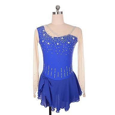 SKMEI Φόρεμα για φιγούρες πατινάζ Γυναικεία Κοριτσίστικα Patinaj Φορέματα Βαθυγάλαζο Spandex Ελαστικό Επαγγελματική Ανταγωνισμός Ενδυμασία πατινάζ Πούλια Στρας Μακρυμάνικο Πατινάζ για φιγούρες