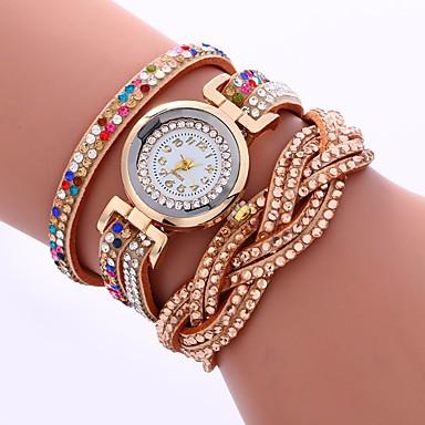 levne Pánské-Dámské Maketa Diamant Hodiny Náramkové hodinky Módní hodinky čínština Křemenný imitace Diamond PU Kapela Na běžné nošení Módní Černá Bílá