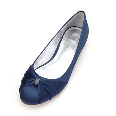 cheap Wedding Shoes-Women's Wedding Shoes Plus Size Flat Heel Round Toe Basic Sweet Wedding Rhinestone Solid Colored Satin Summer White / Black / Purple