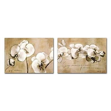 Hang-ζωγραφισμένα ελαιογραφία Ζωγραφισμένα στο χέρι - Αφηρημένο Άνθινο / Βοτανικό Σύγχρονο Μοντέρνα Περιλαμβάνει εσωτερικό πλαίσιο / Επενδυμένο καμβά
