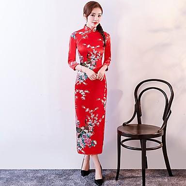 8248b72557bb Cosplay Kjoler Party-kostyme Blyantkjole A-Line Dress Dame Uniformer og  Cheongsam-kjoler Kinesisk Stil Festival   høytid Bomull Drakter Blå   Rosa    Rød ...