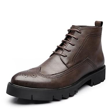 Hombre Zapatos Cuero Otoño Botas de Combate Botas Botines / Hasta el Tobillo Negro / Morrón Oscuro N6XCfz