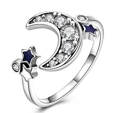 billige Motering-Dame Band Ring vikle ring tommelfingerring Kubisk Zirkonium liten diamant Sølv Sølv Zirkonium Gullbelagt damer Klassisk Vintage Daglig Arbeid Smykker MOON