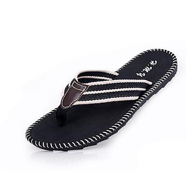 Hombre Zapatos Tejido / PU Primavera / Verano Confort Zapatillas y flip-flops Negro y blanco / Negro / verde BTY9q6kj0