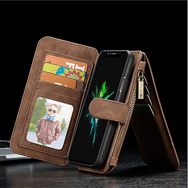povoljno iPhone maske-Θήκη Za Apple iPhone X / iPhone 8 Plus / iPhone 8 Novčanik / Utor za kartice / Otporno na trešnju Korice Jednobojni Tvrdo prava koža