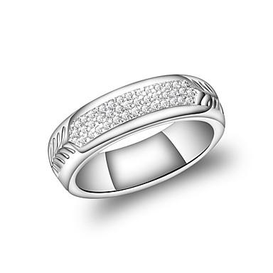 billige Motering-Dame Band Ring Evigheten Ring Kubisk Zirkonium Sølv Zirkonium Sølvplett Sirkelformet Geometrisk Form Vintage Mote Bryllup Aftenselskap Smykker