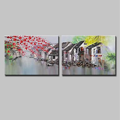 povoljno Ulja na platnu-Hang oslikana uljanim bojama Ručno oslikana - Pejzaž Arhitektura Moderna Uključi Unutarnji okvir / Prošireni platno