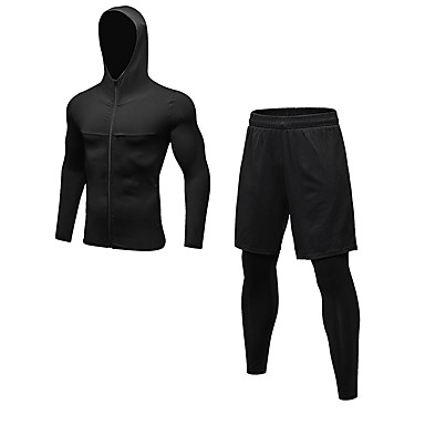Ανδρικά Activewear Σετ Fitness Τζόγκινγκ ΑΘΛΗΤΙΚΑ ΡΟΥΧΑ Ικανότητα να αναπνέει Κολάν Ρούχα σύνολα Μακρυμάνικο Μακρύ Παντελόνι Ρούχα Γυμναστικής Ελαστικό