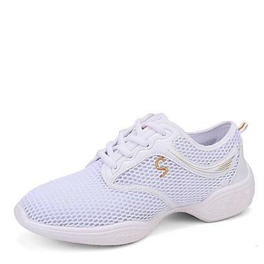 Γυναικεία Παπούτσια Χορού Δίχτυ Δαντέλα μέχρι πάνω Αθλητικά Χαμηλό τακούνι Εξατομικευμένο Παπούτσια Χορού Μαύρο / Λευκό